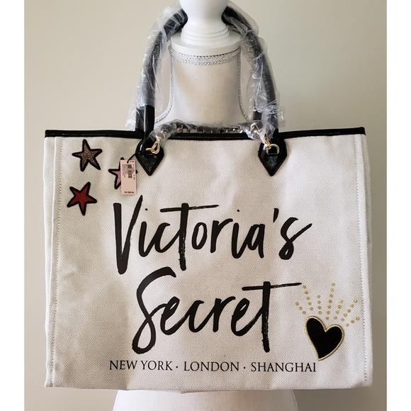 Victoria's Secret Handbags - Victoria's Secret - Canvas Ivory Colored Tote NWT